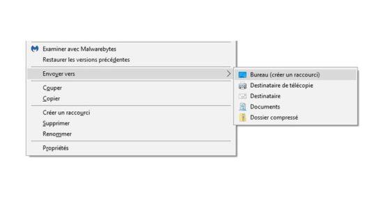 Ajouter des raccourcis au menu « Envoyer vers » de Windows 10