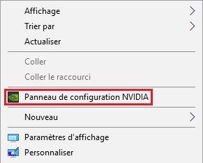 Panneau de configuration NVIDIA menu contextuel