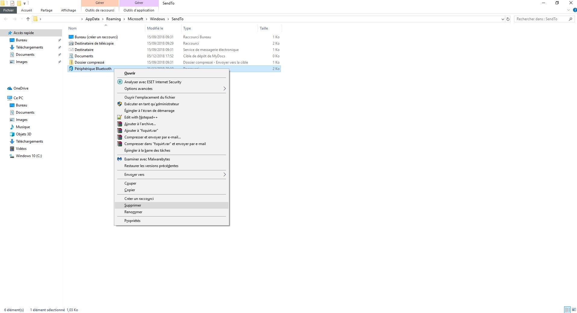 Supprimer un raccourci au menu Envoyer vers de Windows 10