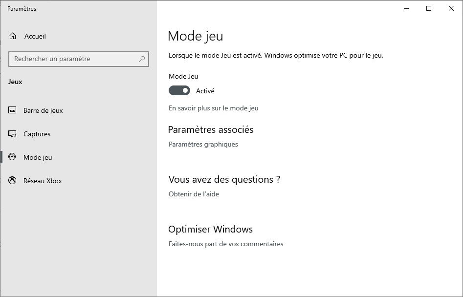Activer le mode Jeu sur Windows 10