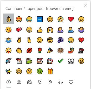 Clavier emoji Windows 10