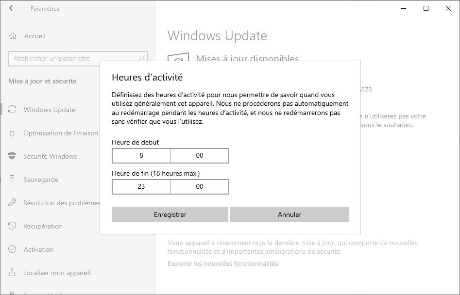 Heures d'activité Windows Update