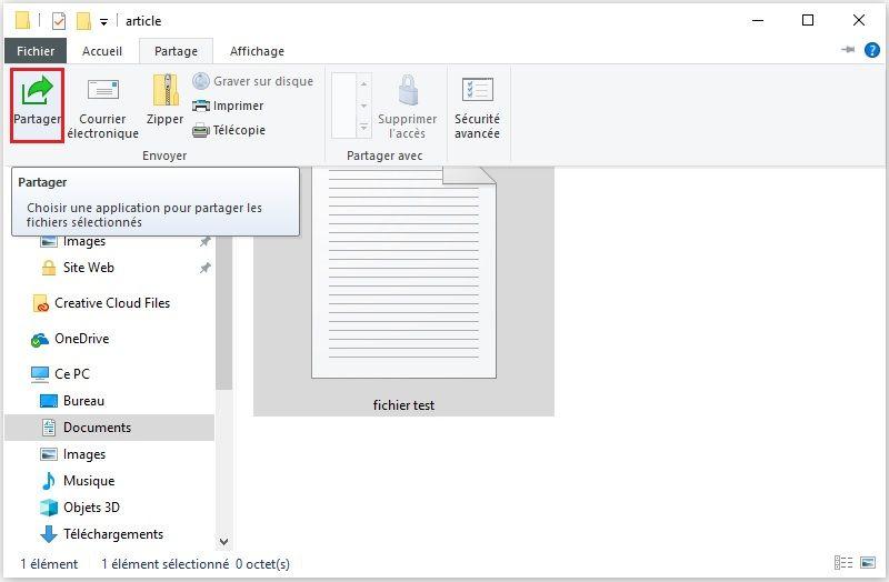 Icône Partager Windows 10
