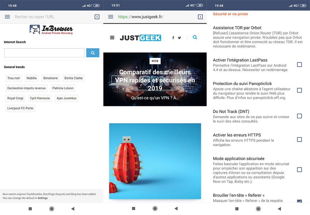 InBrowser Interface Android
