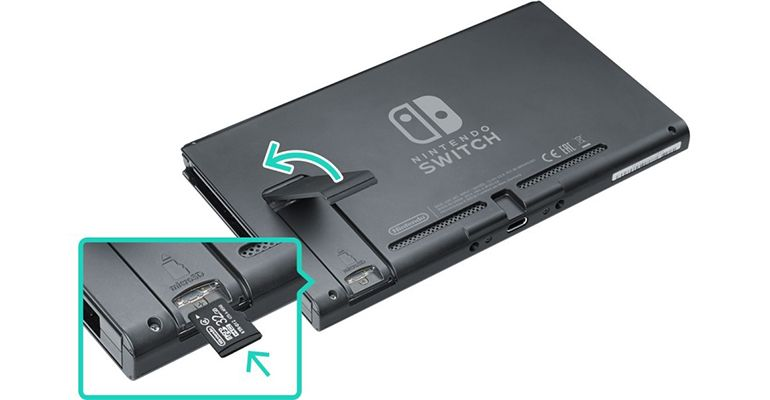 Emplacement carte microSD Nintendo Switch