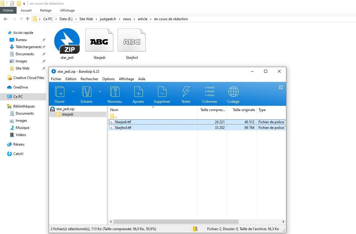 Décompressez l'archive contenant les fichiers .TTF ou .OTF