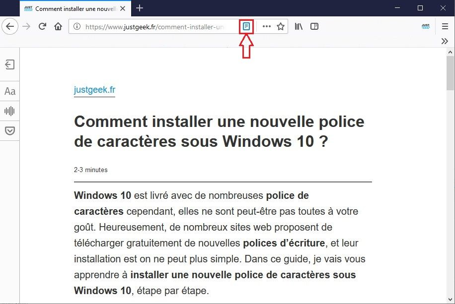 Mode Lecture Firefox