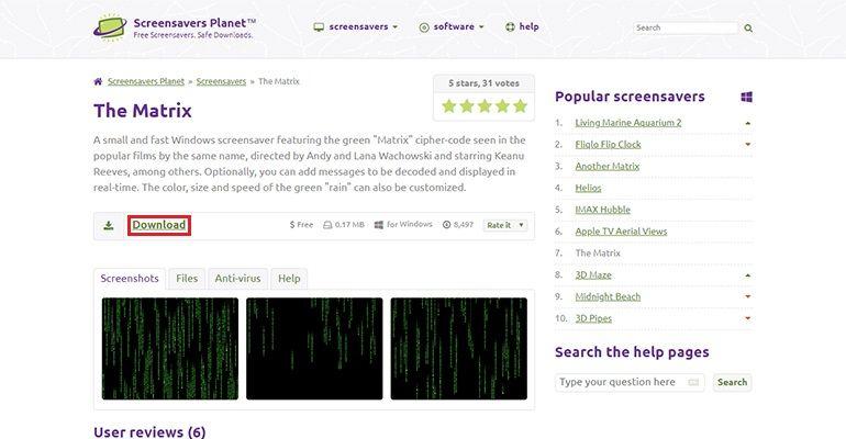 Télécharger un écran de veille sur le site Screensavers Planet