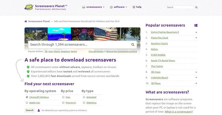 Screensavers Planet Website
