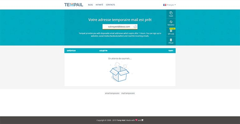 Tempmail : Email temporaire