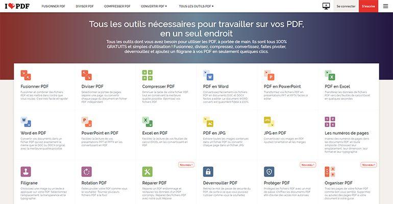iLovePDF.com : fusionner, diviser, compresser ou convertir un fichier PDF