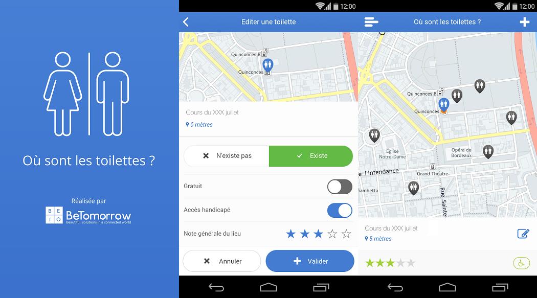 Où sont les toilettes ? Application Android et iOS