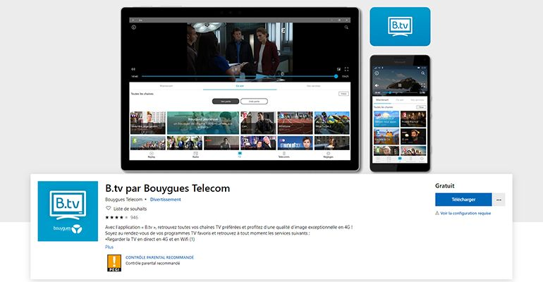 Application B.tv Windows 10 Bouygues Telecom