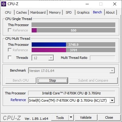 CPU-Z : Bench Stress CPU