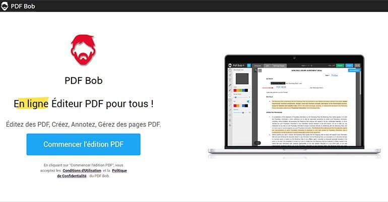 PDF Bob : Éditeur PDF en ligne gratuit