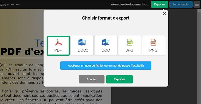 Choisir le format d'export - PDFBob.com
