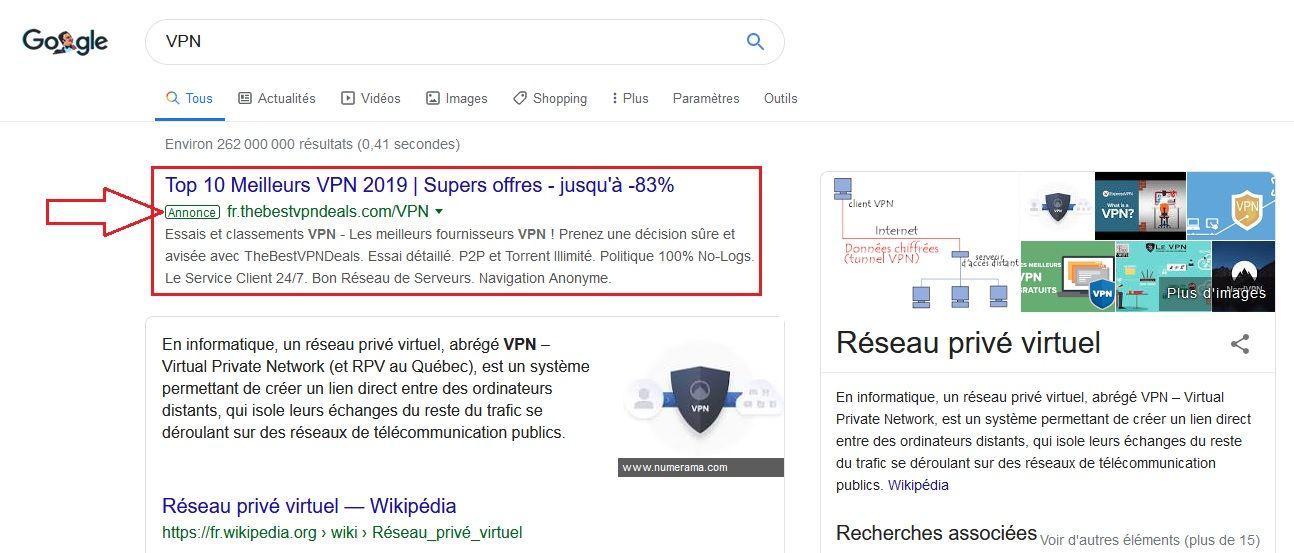 Exemple d'annonce dans le moteur de recherche Google