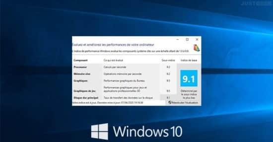 Obtenir l'indice de performance sous Windows 10