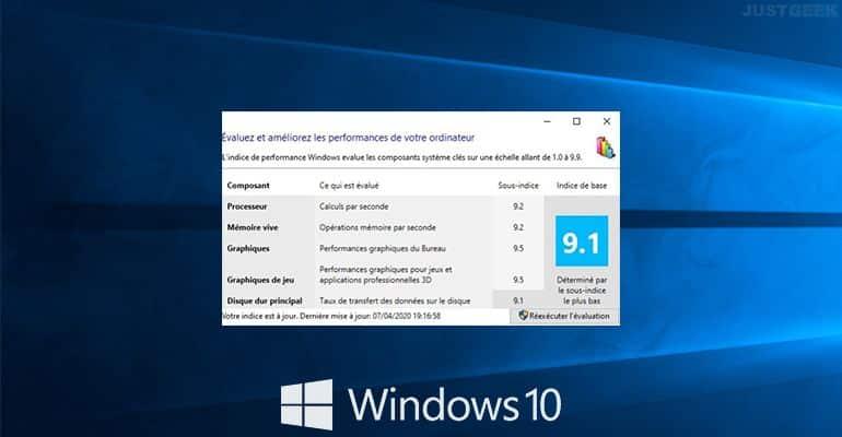 Windows 10 : Obtenir l'indice de performance