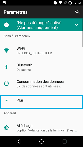 Partager connexion smartphone Android, étape 2