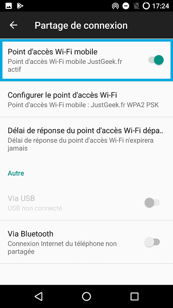Partager connexion smartphone Android, étape 4