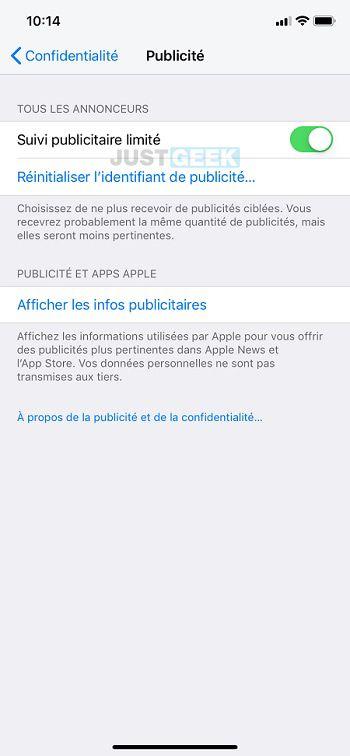 Suivi publicitaire limité iPhone
