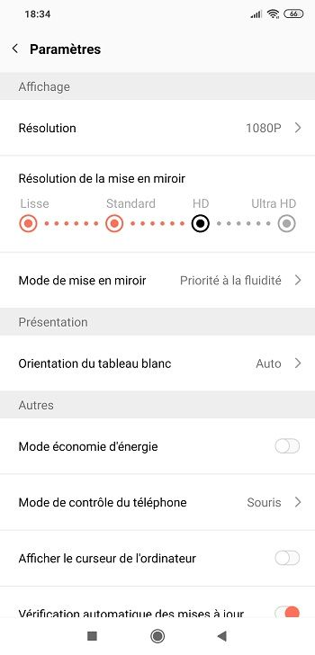 Paramètres de l'application LetsView