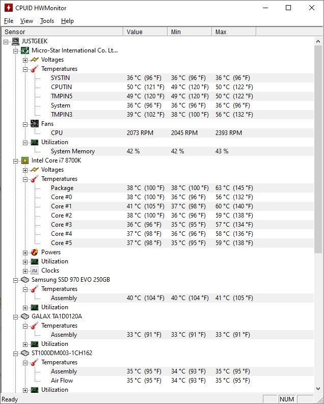 HWMonitor : Surveiller la température de votre PC