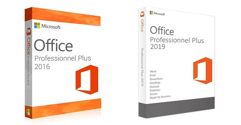 Boîtes Office 2016 et Office 2019