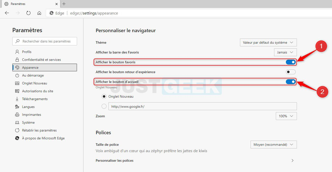 Afficher le bouton favoris et le bouton d'accueil dans Microsoft Edge