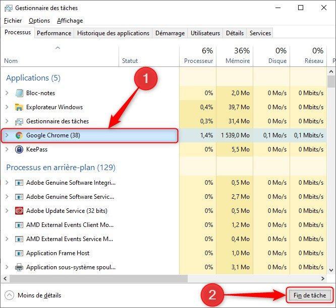 Forcer la fermeture d'une application dans Windows 10