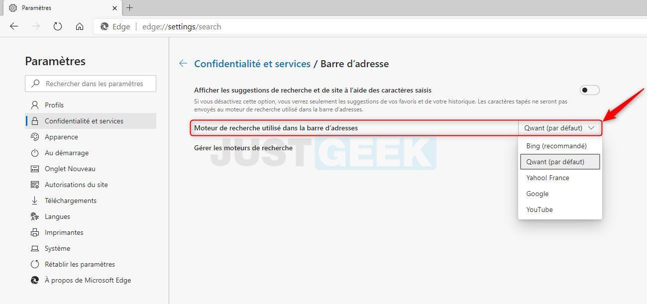 Changer moteur de recherche par défaut Microsoft Edge