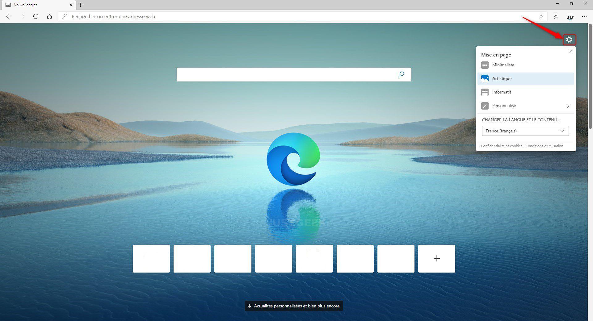 Personnaliser la page Nouvel onglet Microsoft Edge