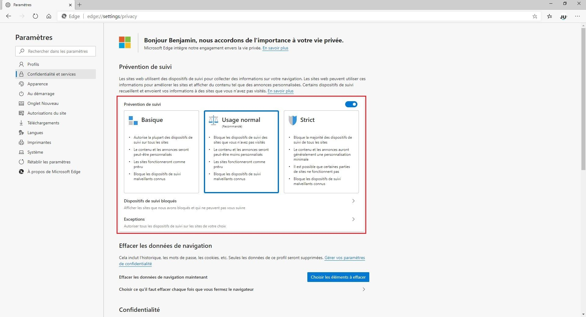 Prévention de suivi Microsoft Edge Chromium