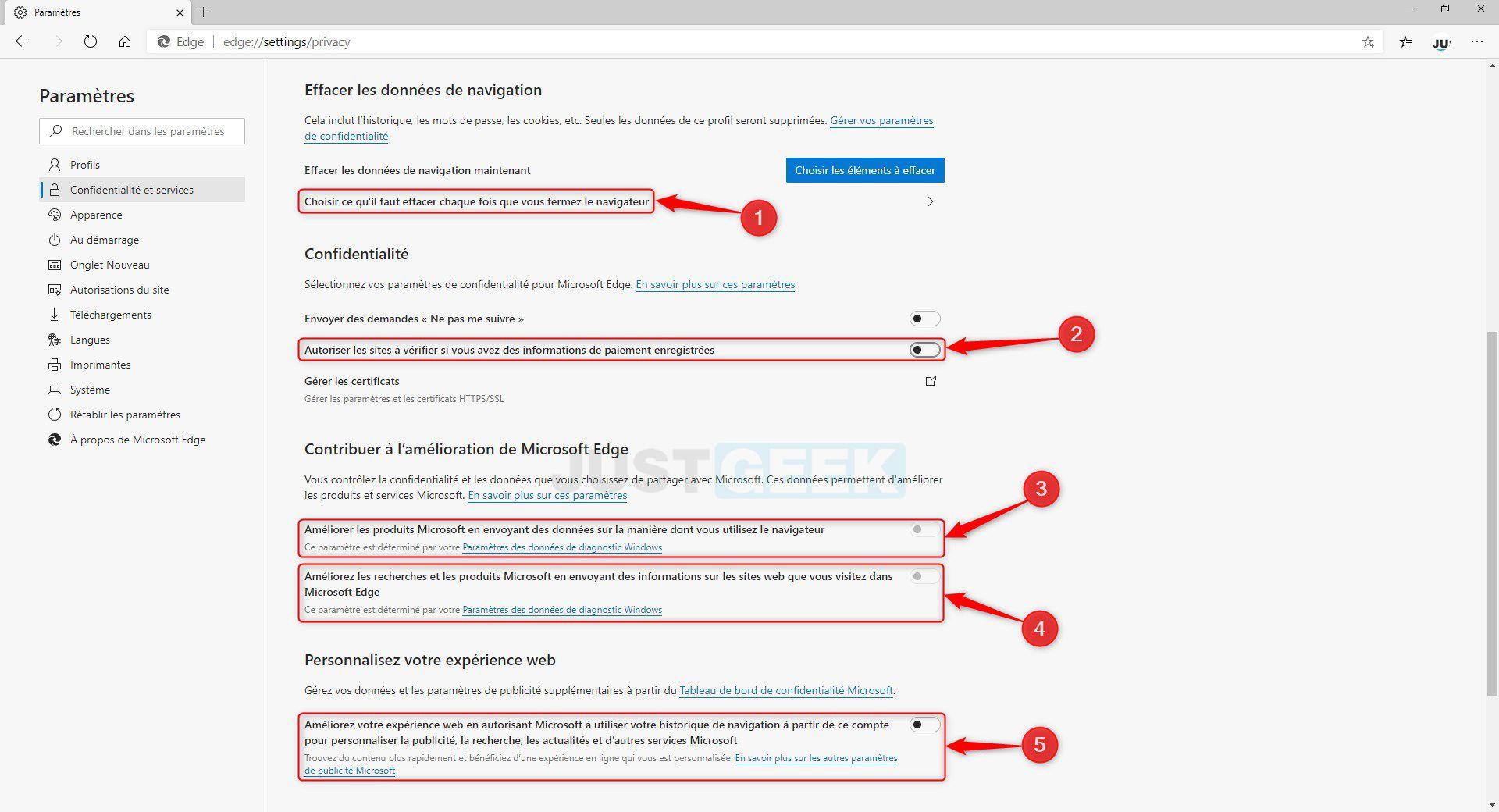 Régler la confidentialité dans Microsoft Edge Chromium