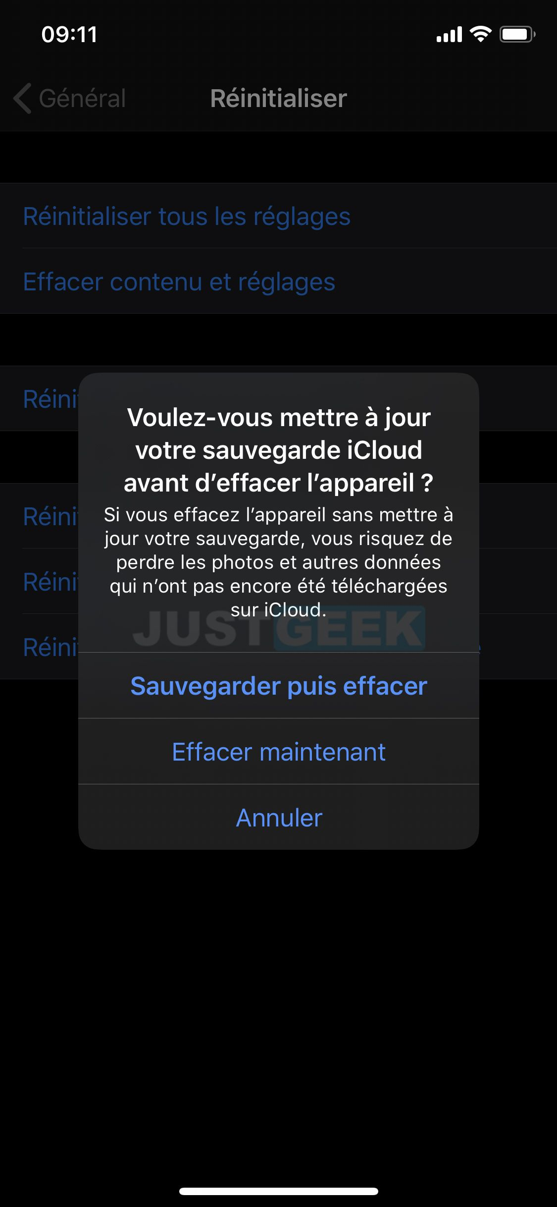 Confirmer la réinitialisation de l'iPhone