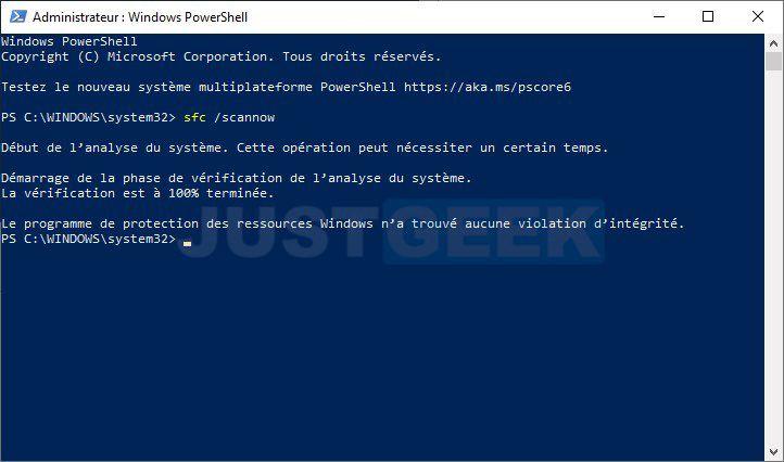 Réparer Windows 10 avec l'outil Vérificateur de fichiers (SFC.exe)