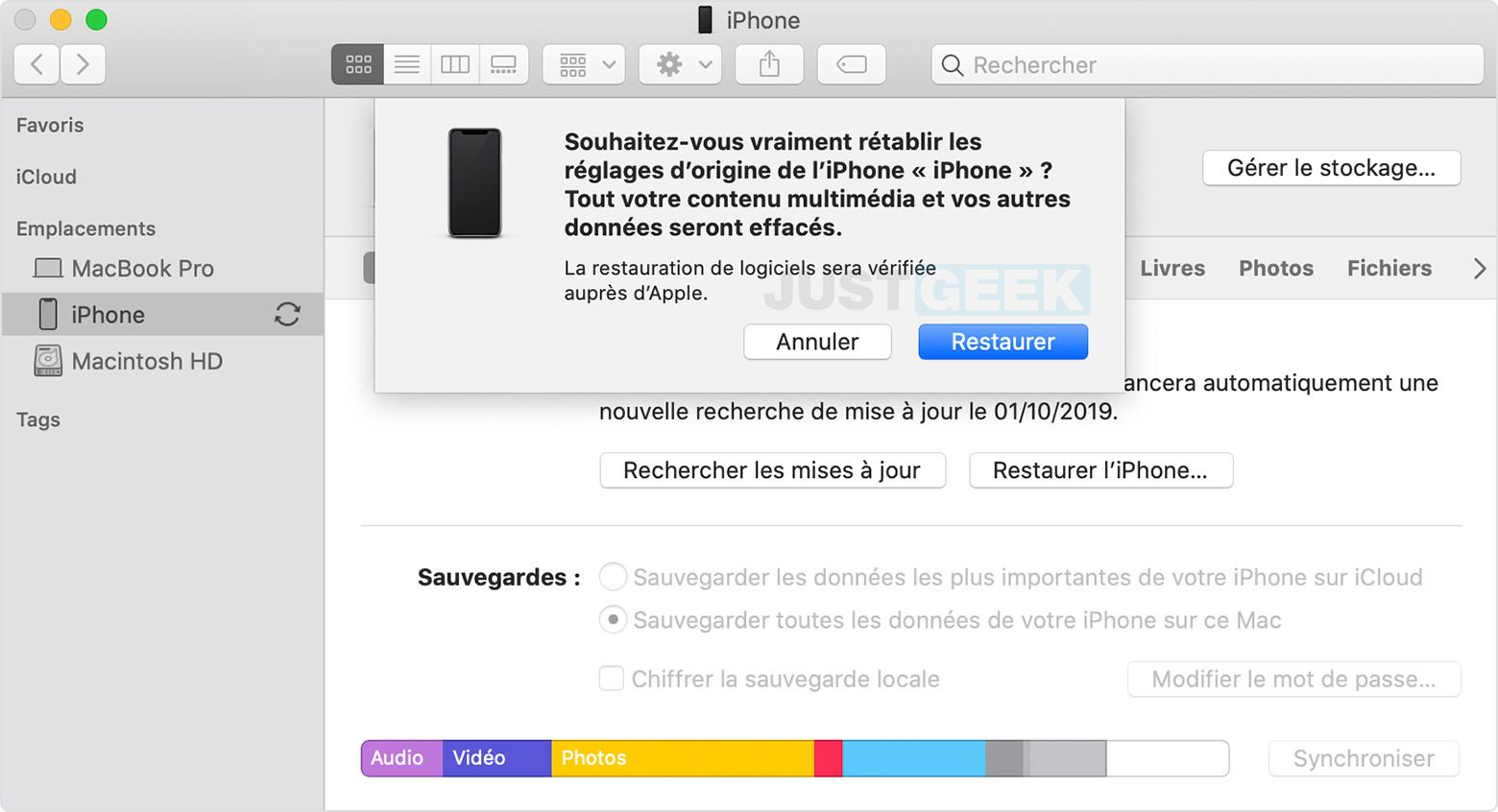 Restaurer iPhone iTunes