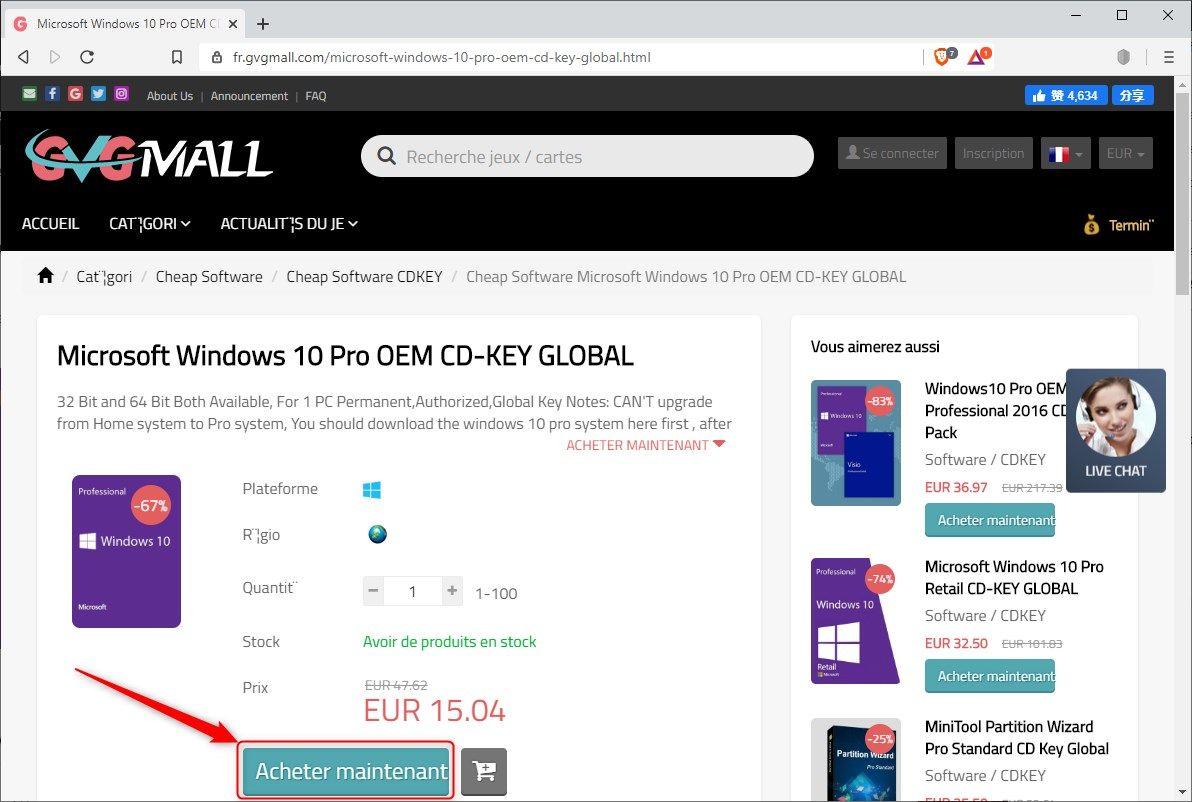 Étape 1 pour acheter une licence Windows 10 Pro pas cher sur GVGMall.com
