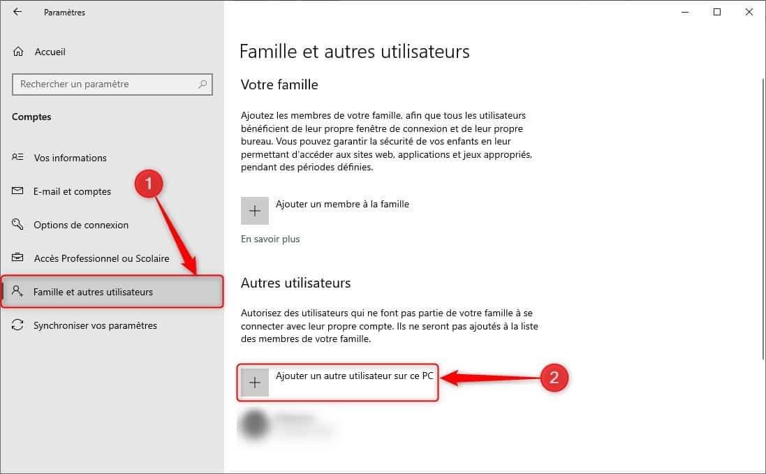 Ajouter un autre utilisateur sur ce PC Windows 10