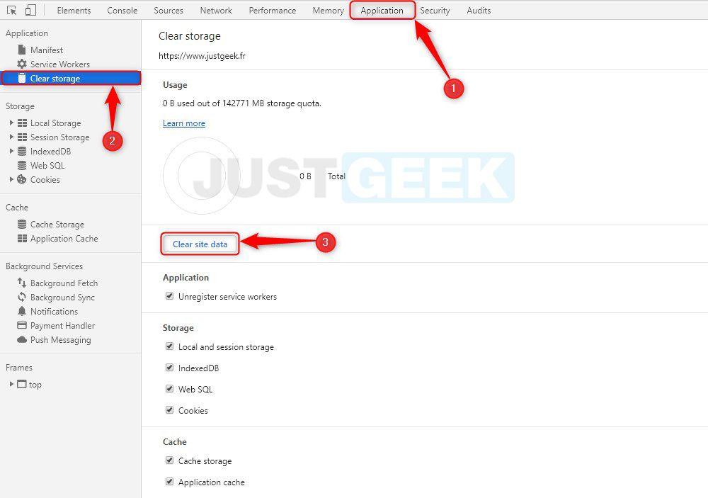 Clear site data Google Chrome