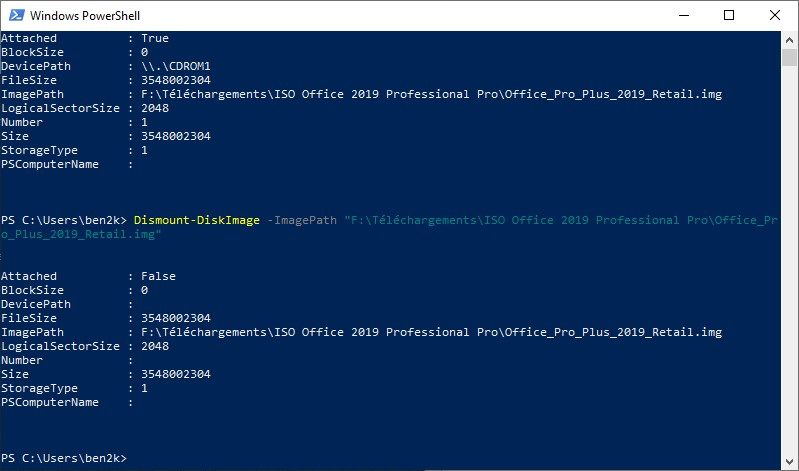 Démonter image ISO Windows PowerShell