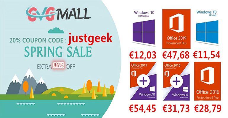 Windows 10 Pro à 12 € et Office 2016 à 28 € avec les soldes de printemps GVGMall