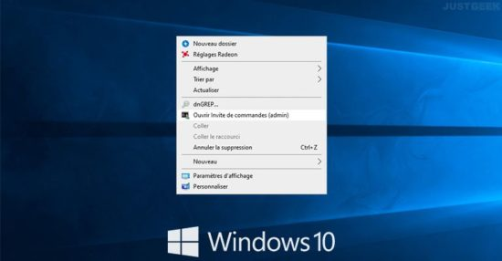 Ajouter « Ouvrir Invite de commandes (admin) » au menu contextuel dans Windows 10