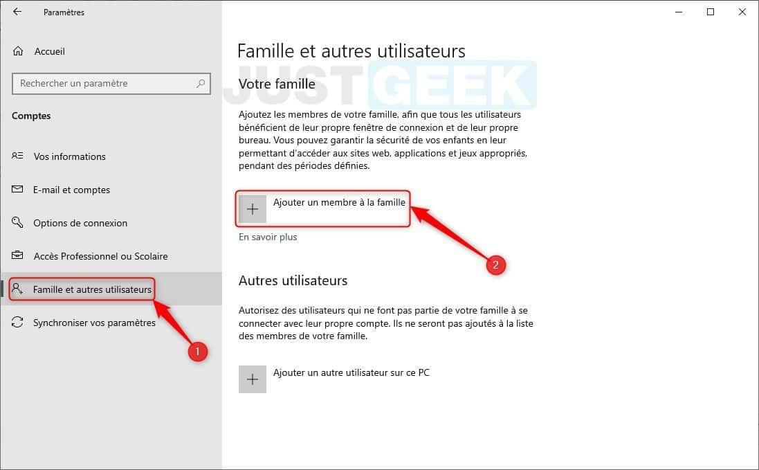 Créer un compte enfant sur Windows 10