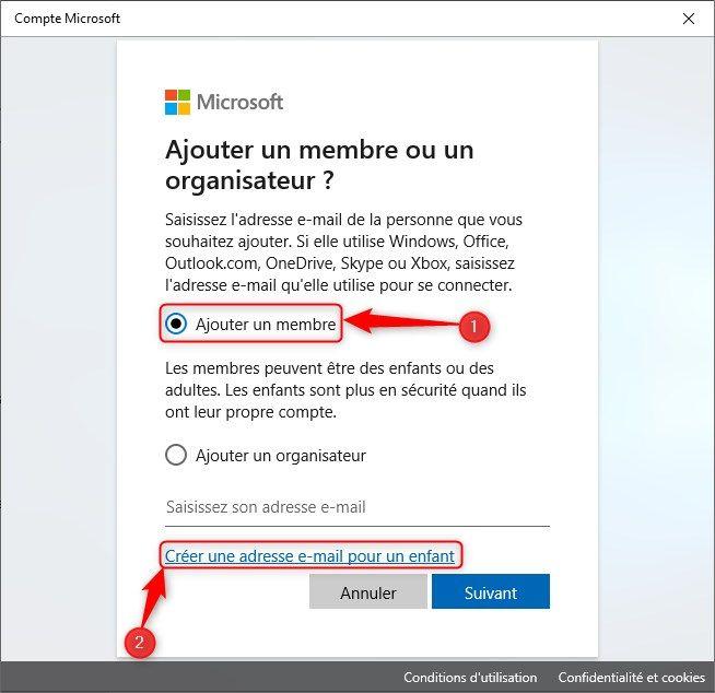 Créer une adresse e-mail pour un enfant sous Windows 10