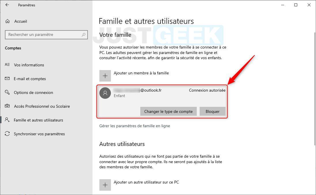 Compte enfant Windows 10