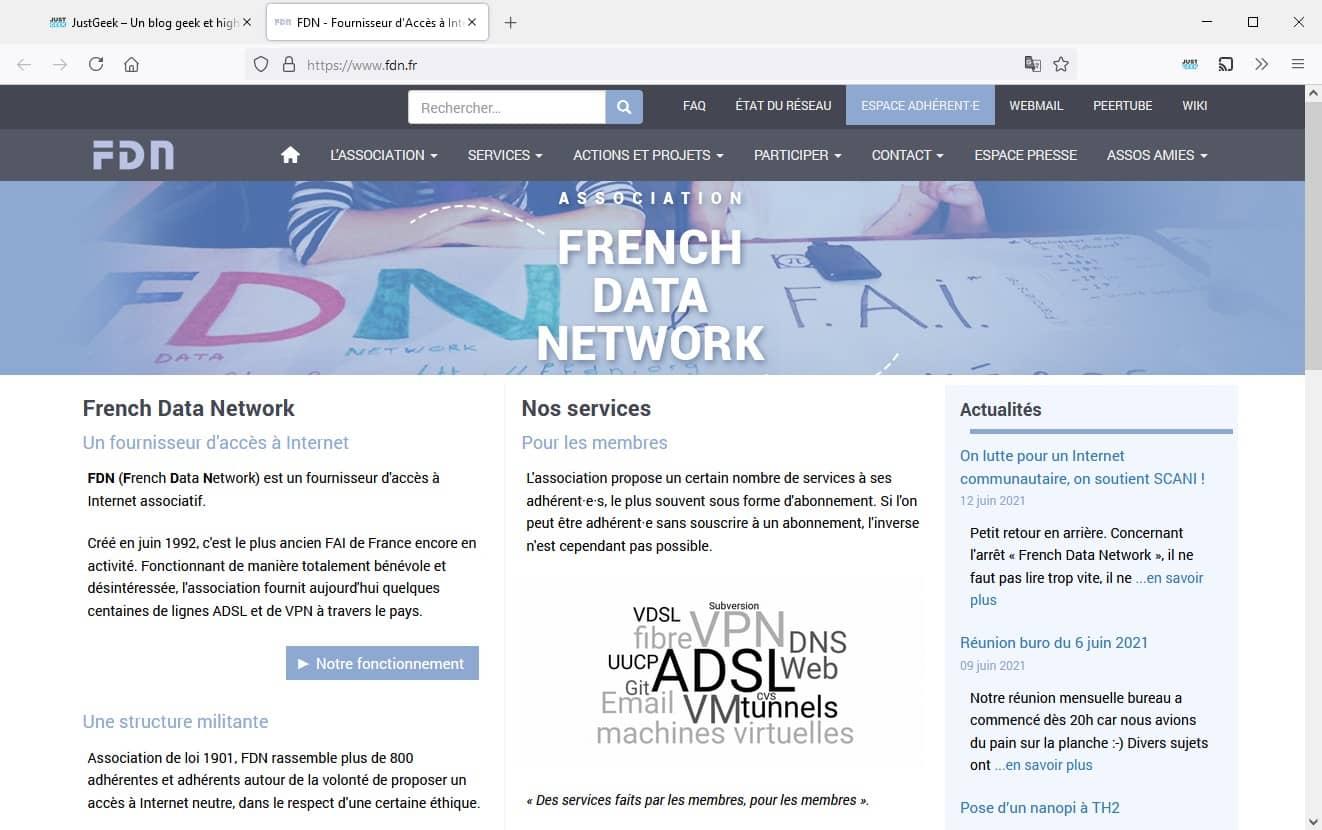 Site web de la FDN (French Data Network)