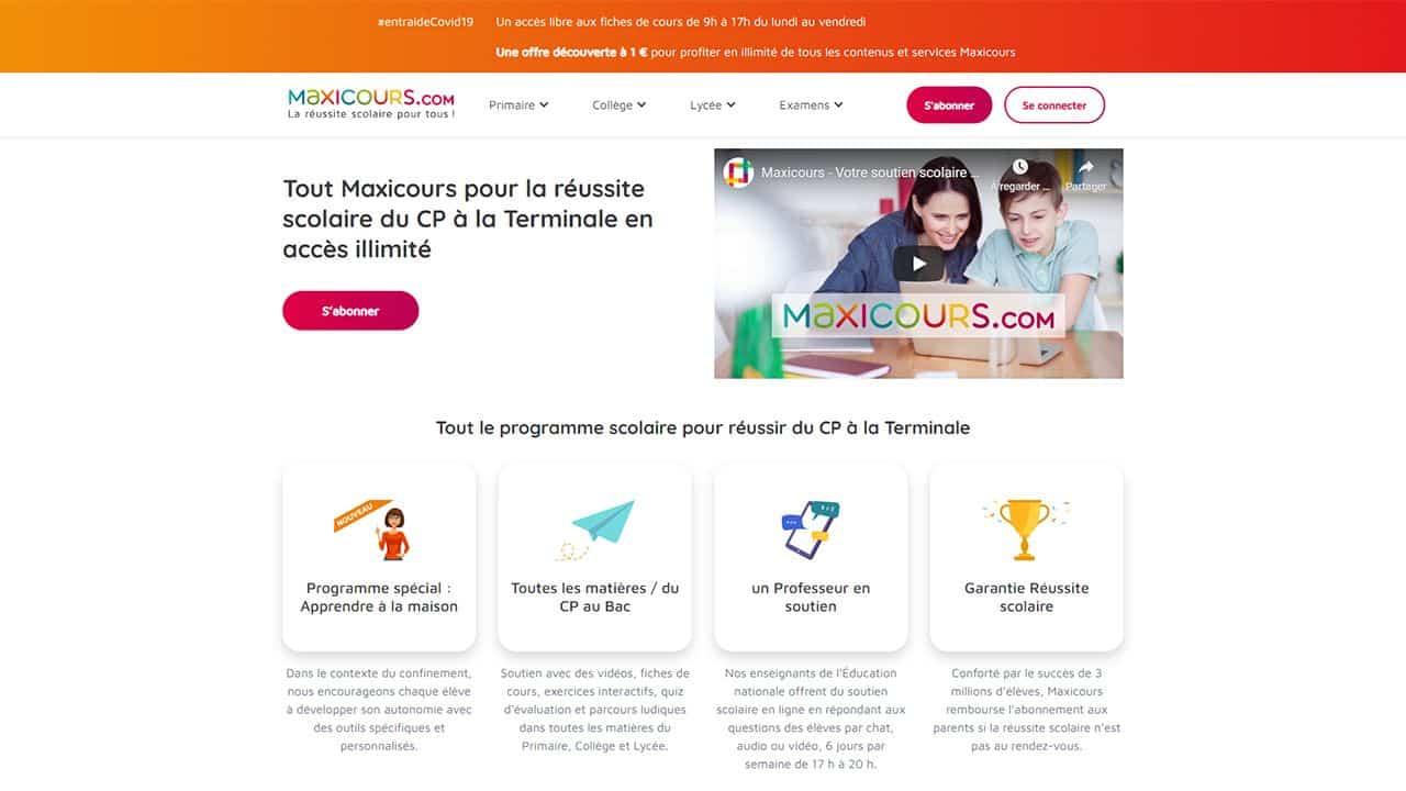 Maxicours.com : Soutien scolaire en ligne du CP à la Terminale