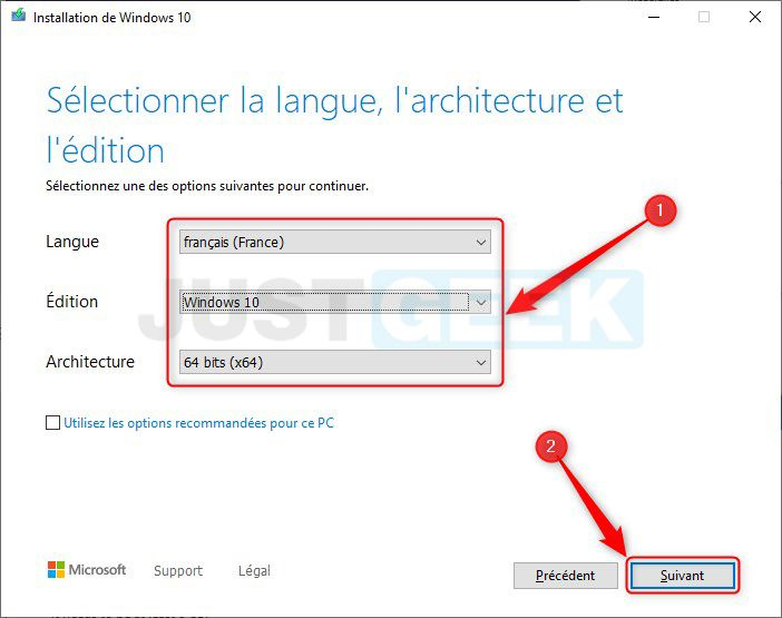 Sélectionner la langue, l'architecture et l'édition de Windows 10